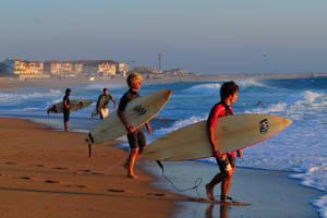 Quatre surfeurs avec leur planche sous le bras, en bord de mer au soleil couchant, avec en fond vue sur le front de mer d'Hossegor